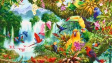 Tropical paradise colorful summer trees