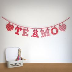 Handmade Valentines day Spanish 'TE AMO' Fabric Garland by Loveprettygarlands on Etsy, $38.00