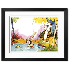 Calvin and Hobbes Fishing Works Poster Print by Wallartxshop, etsy