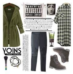 """Yoins 26"" by kenguri ❤ liked on Polyvore featuring Timberland, Bebe, Feather & Stone, The Body Shop, Fornasetti, MAC Cosmetics and yoins"