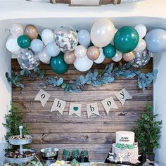 A woodsy winter woodland party isn't complete without fresh pine trees, pine cones, and bubbly balloons! Complete any woodland party with a balloon garland kit! winter woodland party ideas and decor baby shower DIY Balloon Garland Kit Baby Shower Decorations For Boys, Boy Baby Shower Themes, Baby Shower Gender Reveal, Baby Shower For Boys, Boy Baby Showers, Baby Shower Balloon Ideas, Babyshower Themes For Boys, Baby Shower Green, Baby Balloon