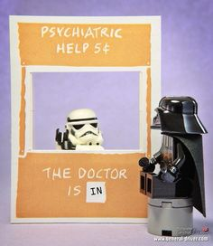 'The Doctor is in', Stormtrooper & Darth Vader need some Therapy, Star Wars, Legos. Photo Lego, Legos, Lego Stormtrooper, Starwars Lego, Lego Humor, Aniversario Star Wars, Cuadros Star Wars, Lego Worlds, Storm Troopers