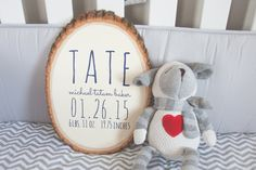 Current production time is 3-5 business days. (Monday-Friday) This genuine wood slice features a creamy white background with newborn stats in navy