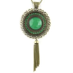 """Crystal Moon Amulet - Colored Brass Pendant - Long Chain Necklace - Cut Jewel & Painted Inlay - Emerald Green Evolatree. $15.99. Measurements: Pendant: 2"""" x 2.5"""" / Necklace: 28"""""""