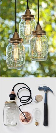 ¿Qué les parecen estas lámparas echas de botes de vidrio? ¡Buenísima idea! Aquí está todo lo que necesitas para hacerlas.