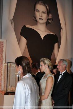 "(L-R) Princess Caroline of Hanover, Princess Charlene of Monaco and Lutz Bethge, CEO of Montblanc International attend the Montblanc ""Collection Princesse Grace de Monaco"" World Premiere presentation on 08.09.2011 in Monte-Carlo, Monaco."