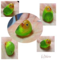 I painted Love bird on natural shape sea glass. the glass size = 20mm