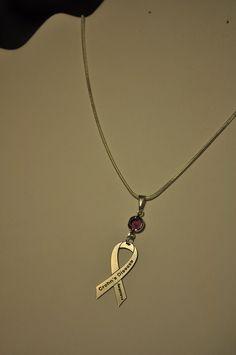 Crohn's Disease Ribbon Necklace w/ Swarovski Crystal by Amerricana, $20.00