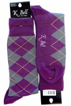 Purple Grey Argyle Mens Dress Sock - K. Bell Socks // For the Groom/Groomsmen!