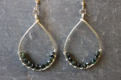 Hammered sterling silver and tourmaline earrings, by Cindy Larson Accessories