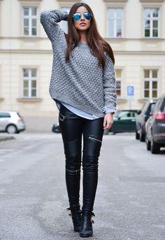 Модный уличный стиль: Кожаные леггинсы