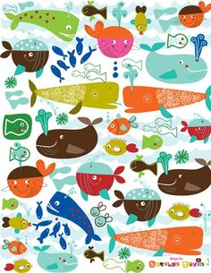 Lilla Rogers : Carolyn Gavin illustration of whales Variations on a theme Art And Illustration, Pattern Illustration, Painting For Kids, Art For Kids, Children Painting, Whale Art, Tile Murals, Kids Patterns, Fish Art