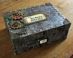 Antonia from the Artistic Craft Dabbler for Filly and Funkie, steampunk storage, Feb. Cigar Box Diy, Cigar Box Crafts, Altered Cigar Boxes, Altered Tins, Diy Box, Altered Art, Clay Crafts, Fun Crafts, Mixed Media Boxes