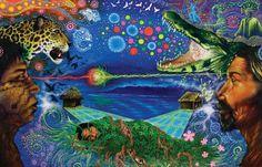 """Paolo R. del  Aguila Sajami – Obra """"Chamanes"""" do artista peruano integrante da tribo Ashaninka. Fonte: http://www.flickr.com/photos/bonpo/sets/72157629014154057/"""