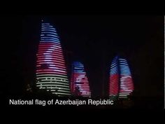 The flame towers in Baku, Azerbaijan - with the brand new Fairmont Baku hotel in one of the towers...