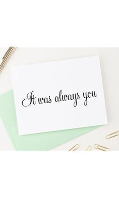 Wedding Card to Your Bride or Groom, It Was Always You, Sweet Love Note On Our Wedding Day, Anniversary card to husband or wife, 1 Greeting Card with envelopes - Your Choice Best Price