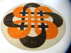 Large Round Panton Era Orange Midcentury 60s 70s German Pop Art Vintage Shag Rug | eBay
