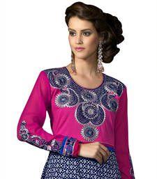 Surat Tex Blue Semi-Stitched Anarkali With Dupatta & Kameez Fabric:- Cotton Salwar Fabric :-Cotton Dupatta:- Chiffon Kameez