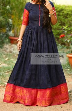 PV 3682 : Blue Gadwal Gown Price : Rs 5200 Grab this beautiful Gadwal cotton gown this summer in colours of navy blue and pink For Order Silk Saree Blouse Designs, Bridal Blouse Designs, Blouse Neck Designs, Simple Gown Design, Long Dress Design, Kalamkari Dresses, Ikkat Dresses, Frock Fashion, Fashion Outfits