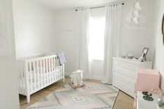 Decorating Hadley's nursery is still one of my favorite memories. We moved into our 1984 home six weeks before Hadley was due and … White Nursery, Nursery Neutral, Small Nurseries, Budget Organization, Nursery Inspiration, Nursery Design, Hadley, Cribs, Kylie