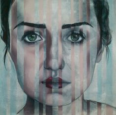 the mask on/off, mixed media on canvas, 120x120cm