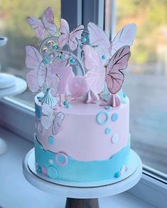 Birthday Cake For Him, Birthday Cakes For Teens, Cute Birthday Cakes, Birthday Cake Toppers, Butterfly Birthday Cakes, Birthday Cake With Flowers, Butterfly Cakes, Elegant Birthday Cakes, Beautiful Birthday Cakes