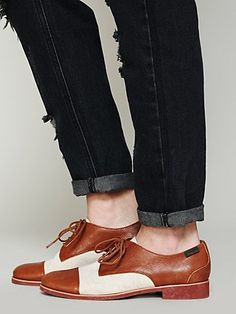 Bass two-tone canvas and leather oxford flat