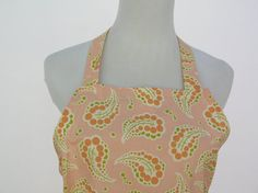 Ladies Apron Made From Peachy Paisley Fabric by izzypat on Etsy