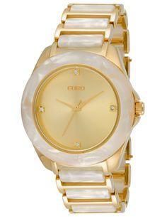 Relógio Feminino Analógico Euro Bivalves EU2035PM/4B - Madrepérola Branco e Dourado - Relógios no E-Euro