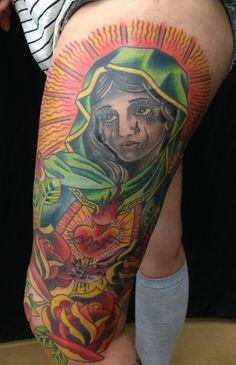American Traditional Virgin Mary Tattoo by Brandon Notch...