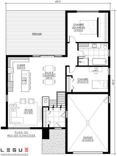 Bungalow Floor Plans, Modern Bungalow House, Modern House Plans, Small House Plans, House Floor Plans, Modern Architecture House, Architecture Plan, Architecture Details, Small Floor Plans