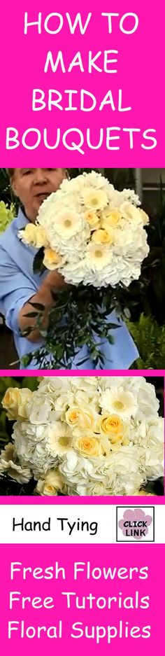 http://www.wedding-flowers-and-reception-ideas.com/how-to-make-a-bridal-bouquet-hand-tying-techniques.html  Step by step hand tying technique for DIY wedding bouquets.  Buy fresh wholesale flowers and professional floral supply products.