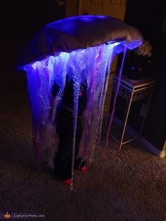 Cassidy: M daughter, who is 5, dressed up as an LED jellyfish! I made her costume by hand from an umbrella, organza, LED and EL wire lights, batting bubble wrap and...