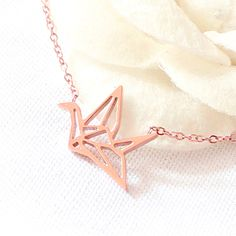 18k rose gold origami crane necklace, sorigami crane necklace, paper crane necklace, Blessing of the necklace, Happiness necklace