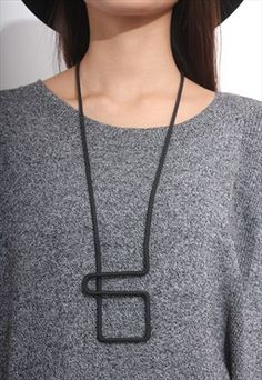 Geometric Square Rope Necklace