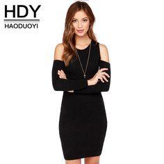 fc44f12d748 HDY Haoduoyi Nouvelle Mode Femmes Tricoté Robe À Manches Longues Froid  Épaule Femme Mini-Robe Sexy Solide Noir Dames Moulante Robe