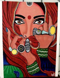 Rajasthani Painting, Rajasthani Art, Madhubani Art, Madhubani Painting, Painting Of Girl, Mural Painting, Painting Gallery, Art Gallery, Acrylic Art