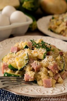 Zucchini, Ham and Rice Skillet - This delicious dish cooks up in minutes and makes a hearty breakfast or dinner!