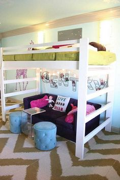 girls room in franklin, tennessee by cke interior design by cke interior design, via Flickr - great loft bed #design bedrooms #interior house design| http://home-decor-inspirations-552.blogspot.com