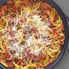Bruschetta Pasta in the Rockcrok - The Pampered Chef® - sub chicken broth for vegetable broth to make vegetarian