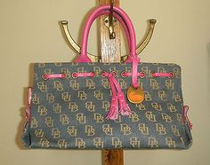64a4f7a0889 DOONEY   BOURKE Denim Signature Jacquard Pink Leather Tassel Tote Bag USA  EUC
