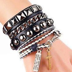 Y-blue Cool Fashion Street Rock Punk Leather Multilayer Bracelet. Ideal for Madonna, 80s rock, punk dress-up/