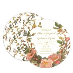 Tea For Two - Signature White Textured Wedding Invitation Circle Cards in Sorbet or Mustard | Claire Pettibone