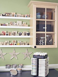 Stamp Central:  Store your rubber stamps on the shallow picture ledges. Use drawers below for more stamp storage if needed. Ink pads are neatly contained in a lazy-Susan-style caddy on the work surface.