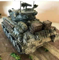 Sherman Tank, Model Tanks, Military Diorama, Hobbies And Crafts, Scale Models, Military Vehicles, Battle, Painting, Dioramas
