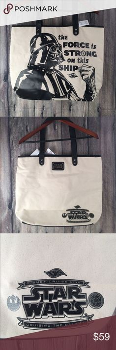 "Disney Star Wars Cruise Line Canvas Leather Bag Disney cruise line Star Wars branding heavy canvas and leather bag!  19"" x 14"" x 5"". NWT, snap closure, lined, inside Zipper pouch. Disney Bags Totes"