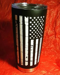Cup I made for my best friend, so happy with how it turned out! American flag, vinyl decal, coffee tumbler