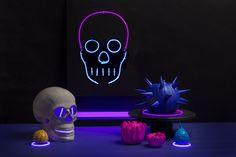 DIY faux neon skull