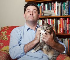 This is Michael Showalter with his cat Louise. Michael is a cat lady. | Hanging Out With Michael Showalter, The Ultimate Cat Lady @Casey Dalene Dalene C @Amy Lyons Lyons Woodall