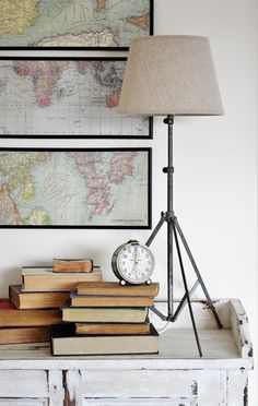 Tripod lamp made from old music stand.